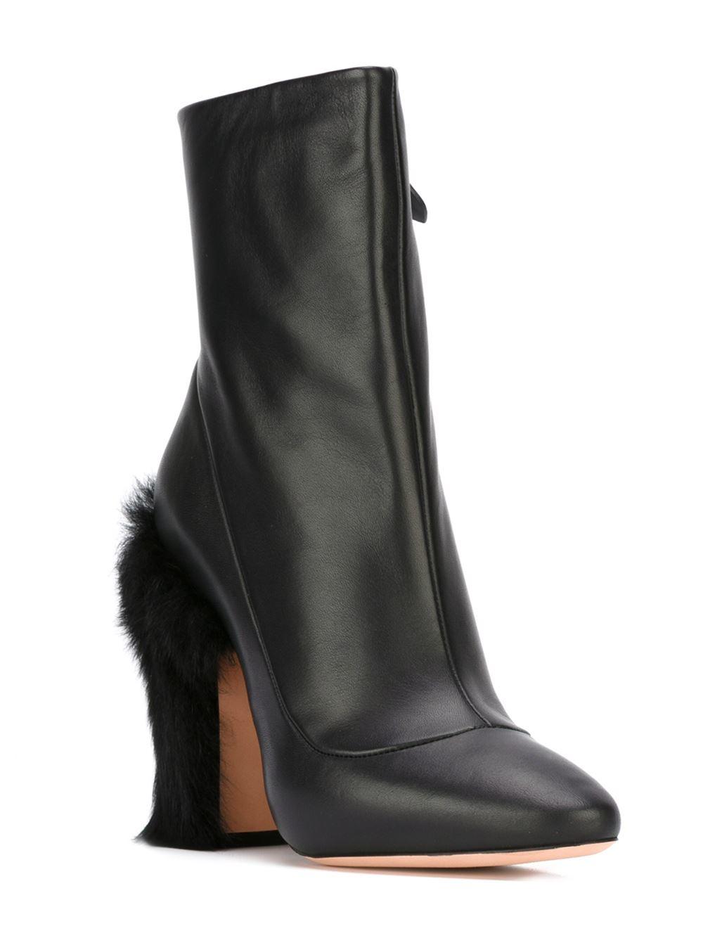 rochas fur heel ankle boots in black lyst