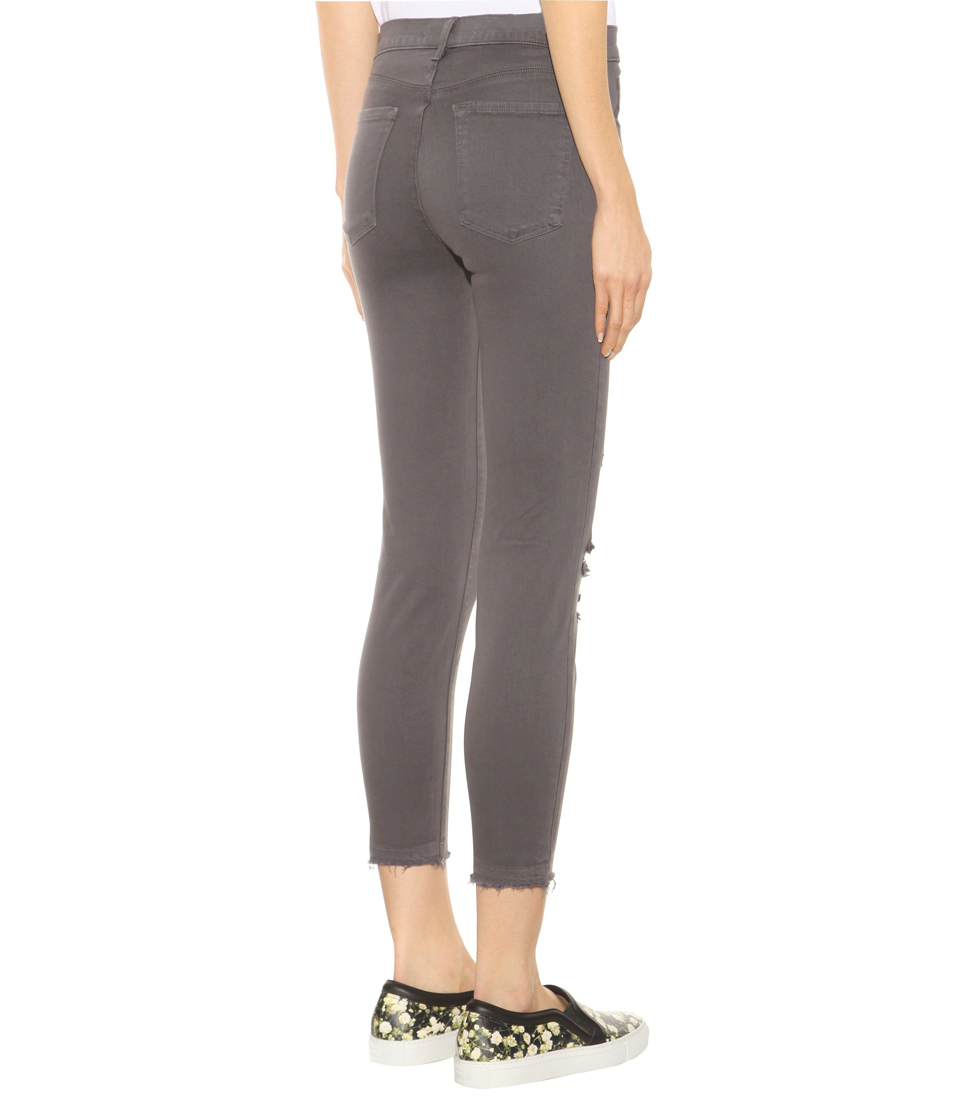J brand Cropped Low Rise Distressed Skinny Jeans in Gray | Lyst