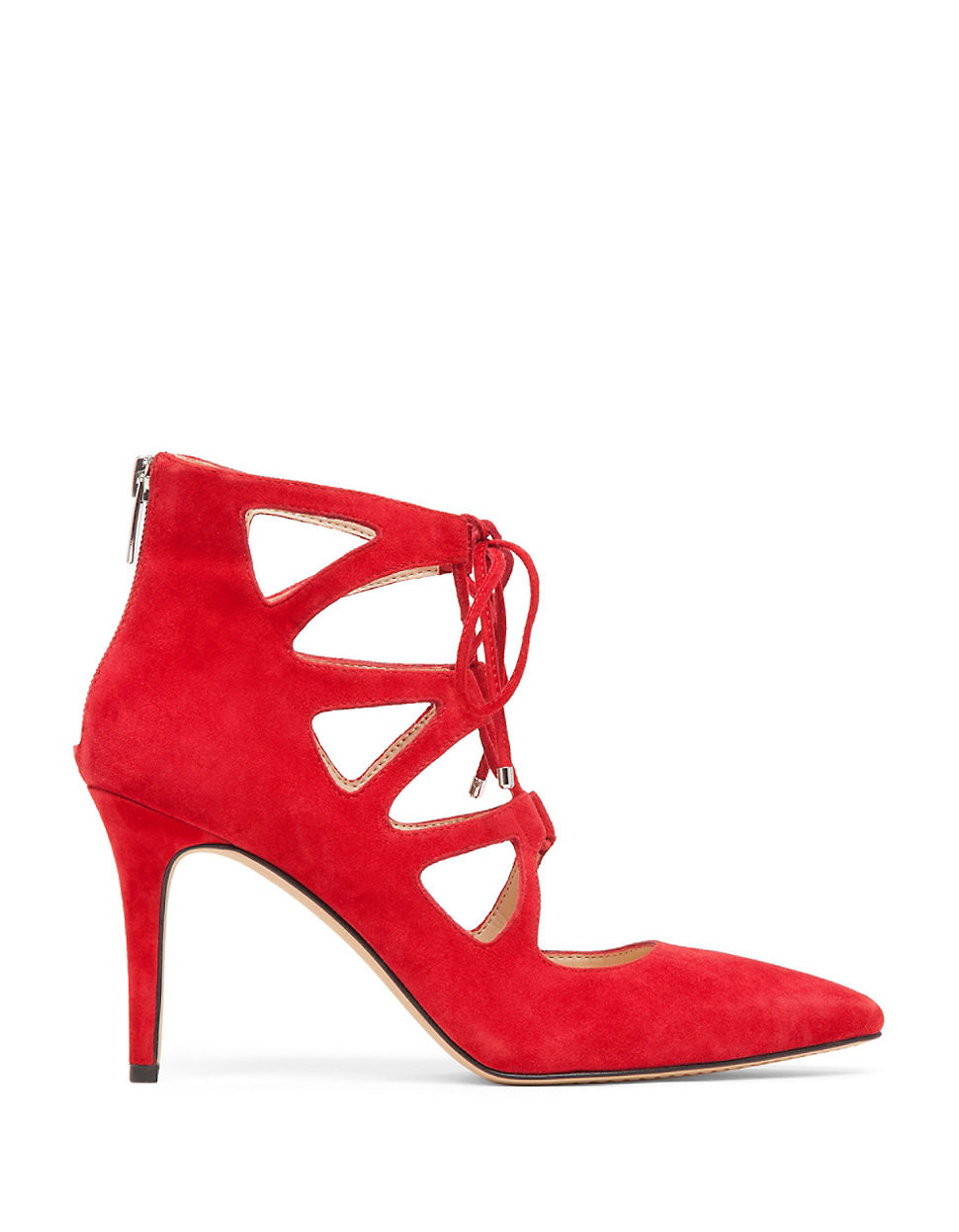 Vince Camuto Bodell Lace Up Suede Sandals In Red Lyst