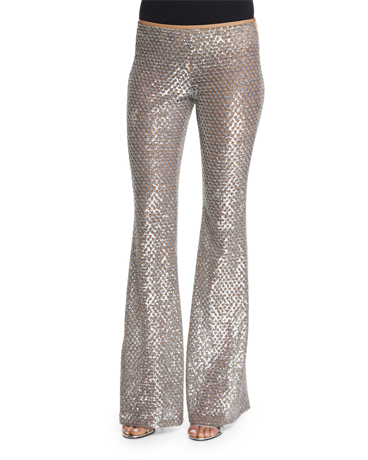 michael kors silversuntan embellished flare leg pants silver product 0 276766936 normal