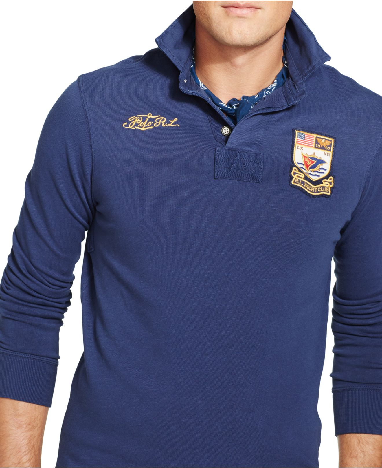 Lyst polo ralph lauren big and tall varsity jersey rugby for Tall ralph lauren polo shirts