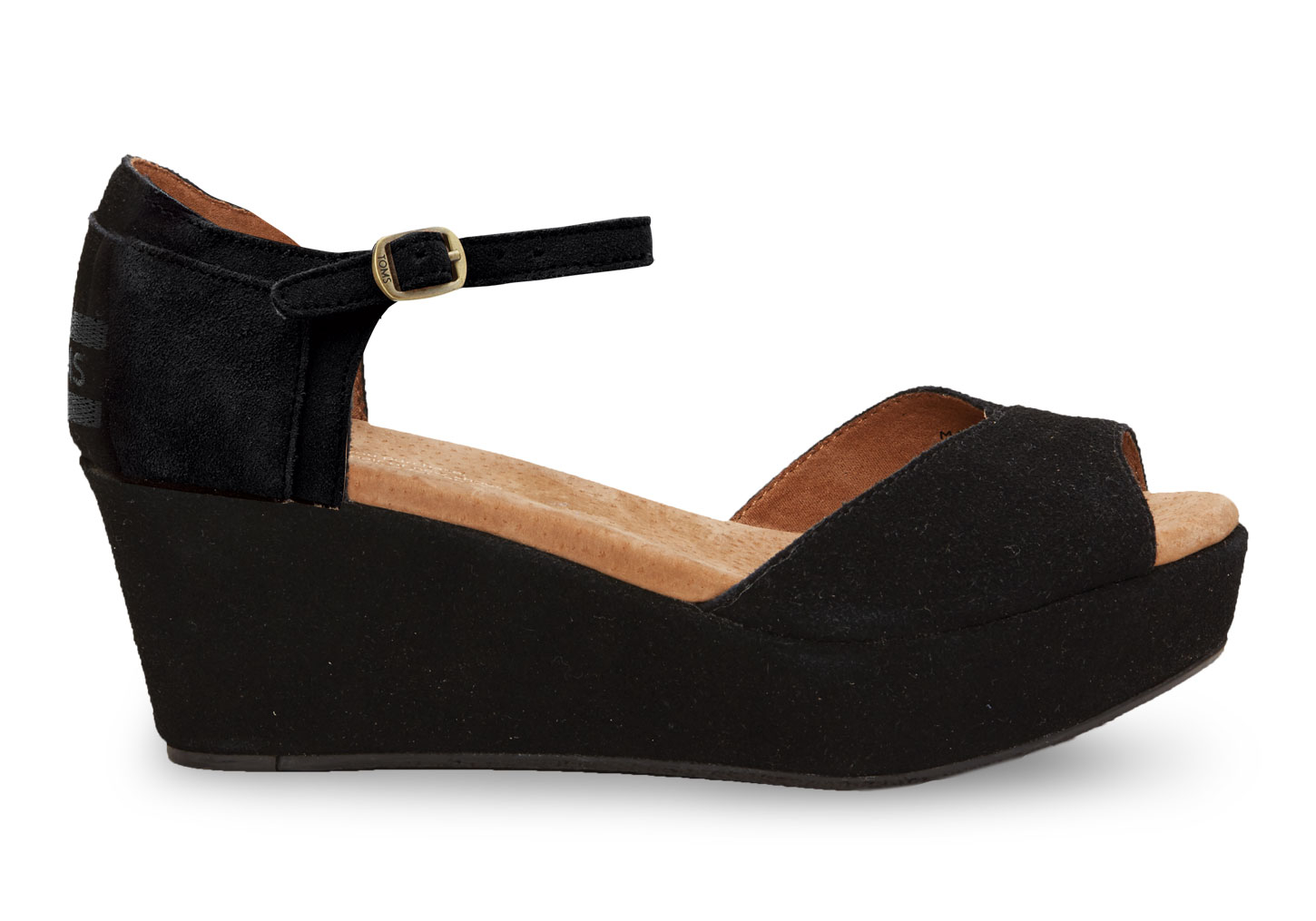 Toms Black Suede Women's Platform Wedges in Black | Lyst