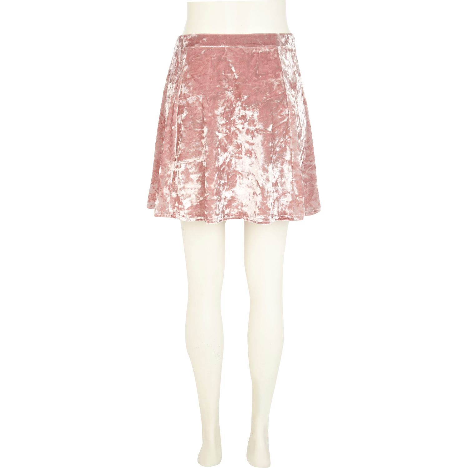 39e48e8f0 River Island Light Pink Crushed Velvet Skater Skirt in Pink - Lyst