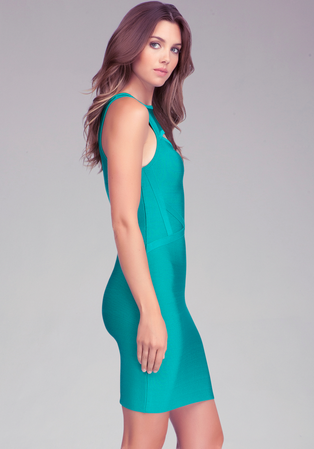 cedc4716467 Bebe Kaboo Crew Neck Bandage Dress In Green Lyst