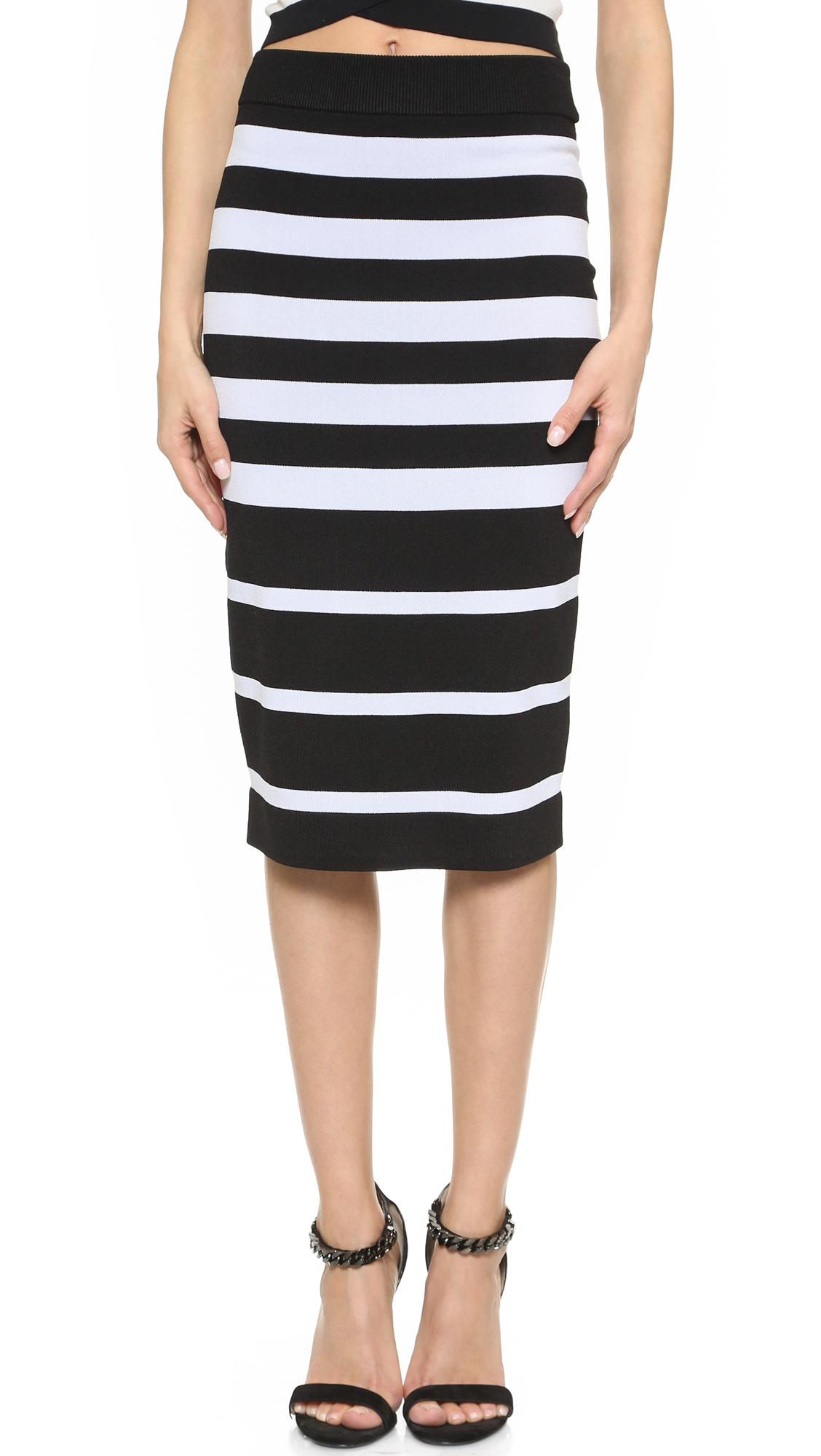 Striped Pull On Tube Skirt Black White