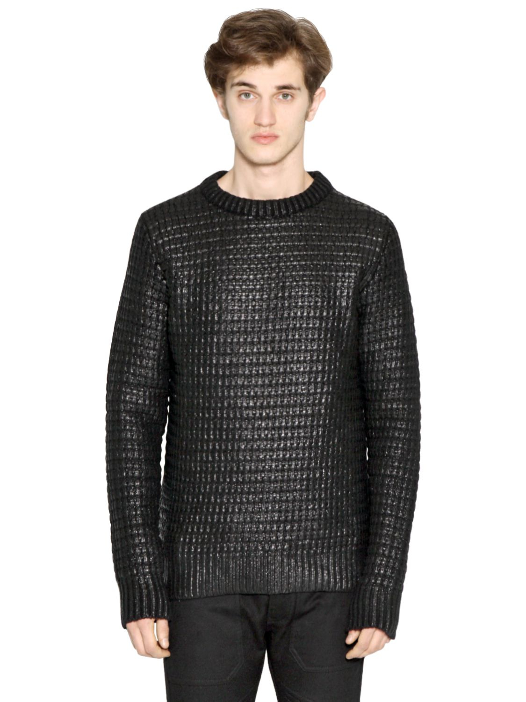 Diesel black gold Coated Wool Sweater in Black for Men | Lyst