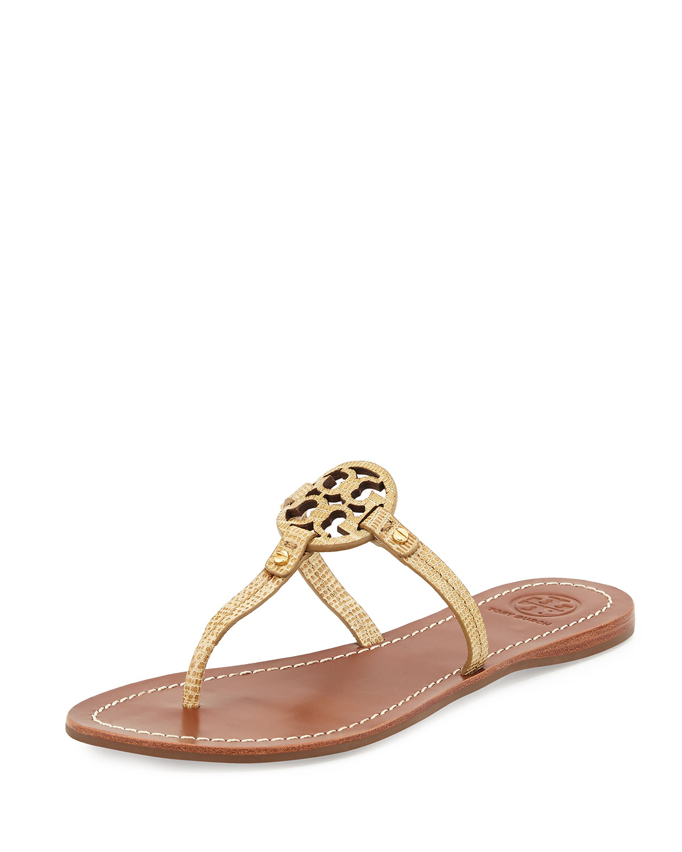 be03a68aeb8199 Lyst - Tory Burch Mini Miller Snake-Embossed Flat Sandal in Metallic