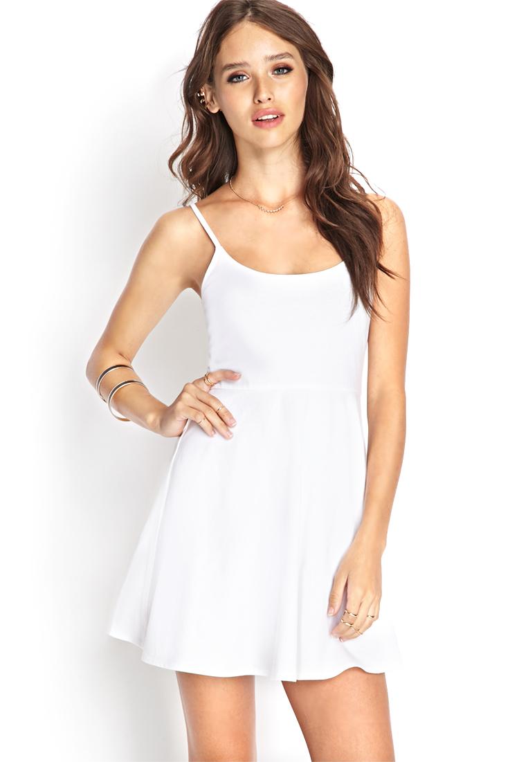 Forever 21 Cami Skater Dress in White | Lyst - photo #42
