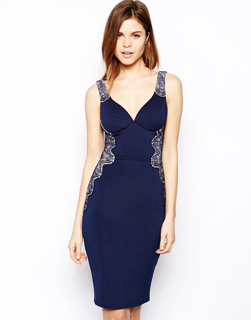 Lipsy midi bodycon dress with lace and frills