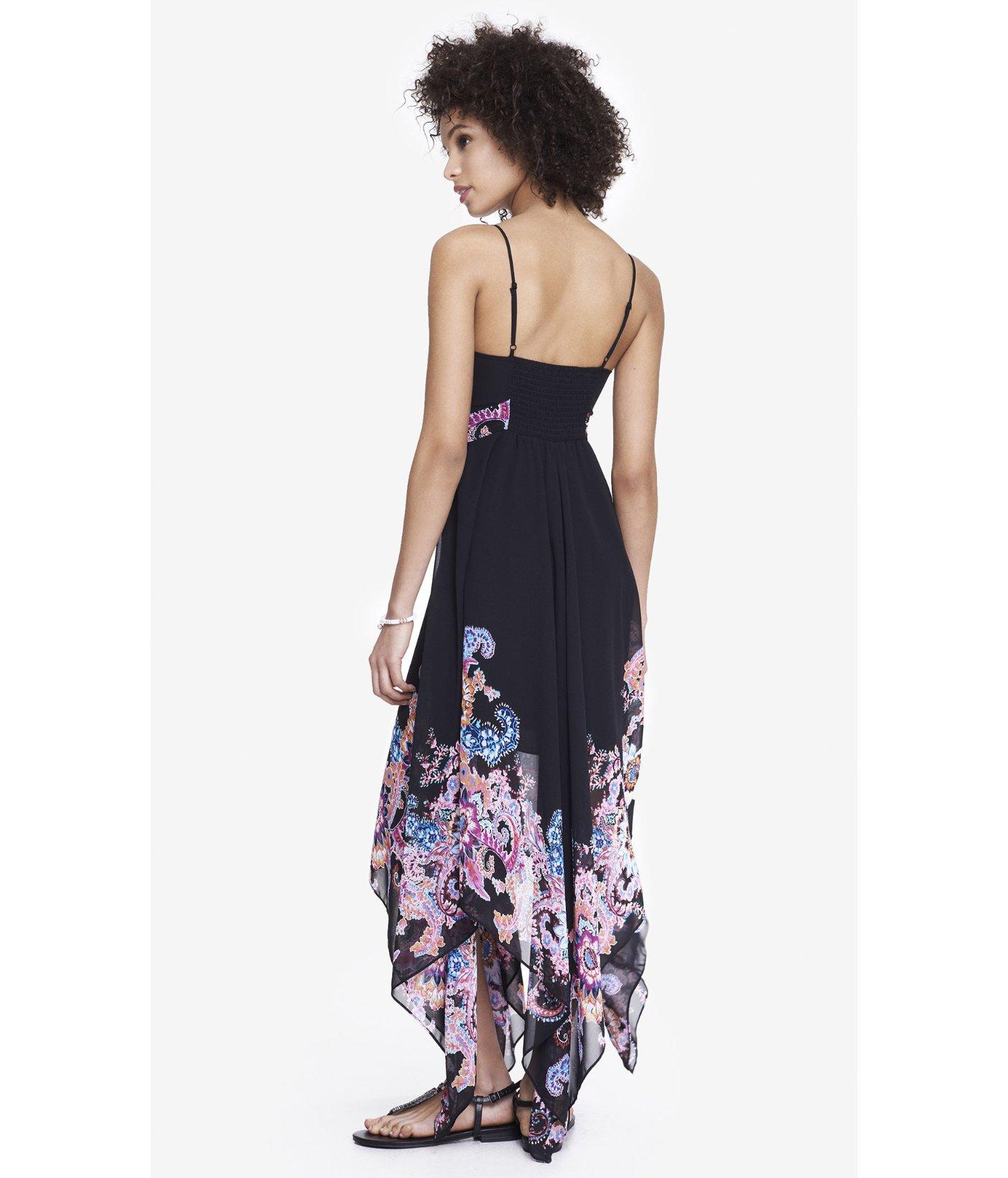 Express Placed Floral Handkerchief Hem Maxi Dress In Black