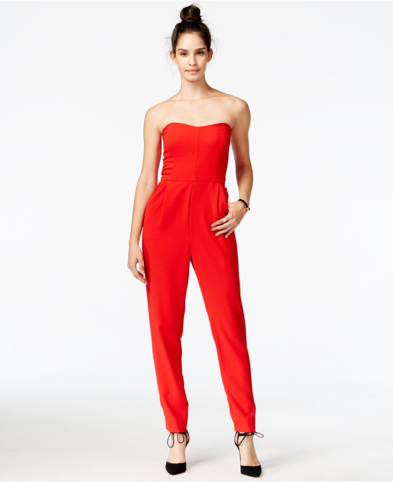 6fc8e929ba8e Lyst - RACHEL Rachel Roy Strapless Jumpsuit in Red