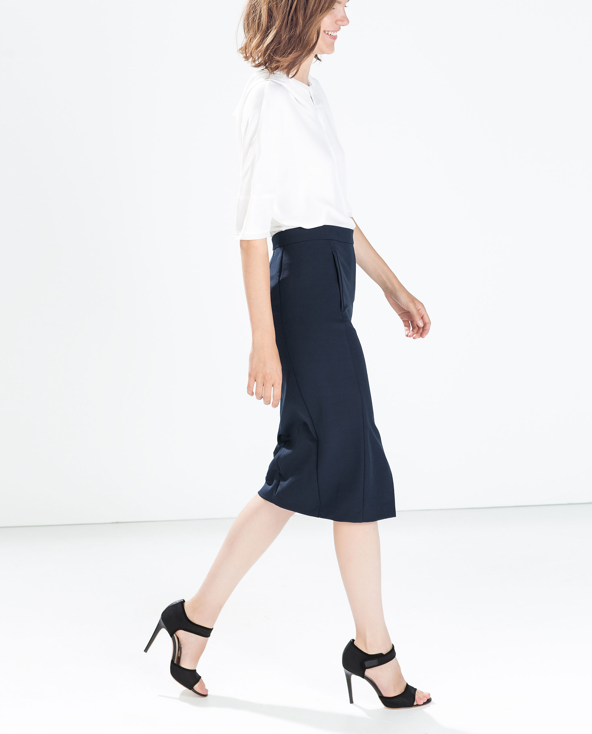 zara pencil skirt with front slit in blue lyst