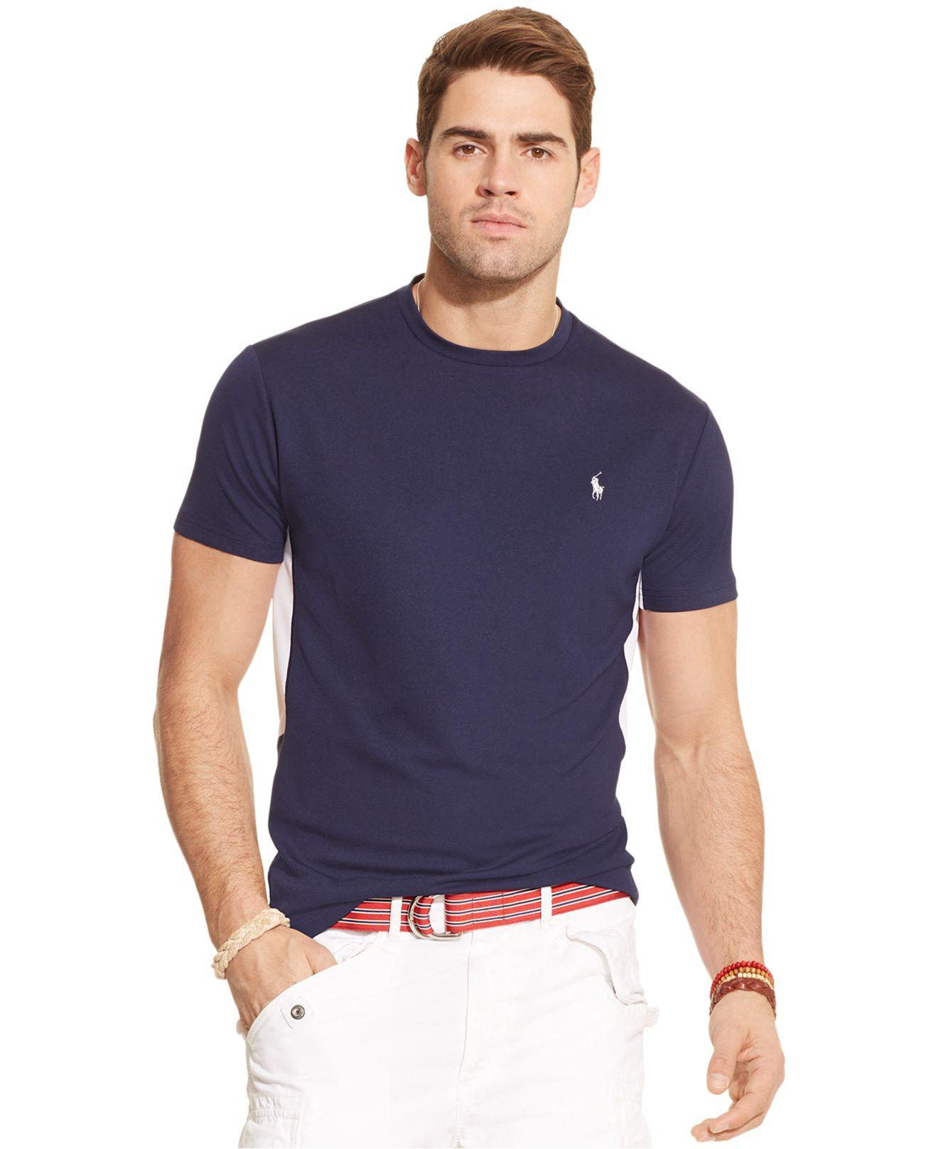 Polo ralph lauren performance jersey crewneck t shirt in for Ralph lauren polo jersey shirt