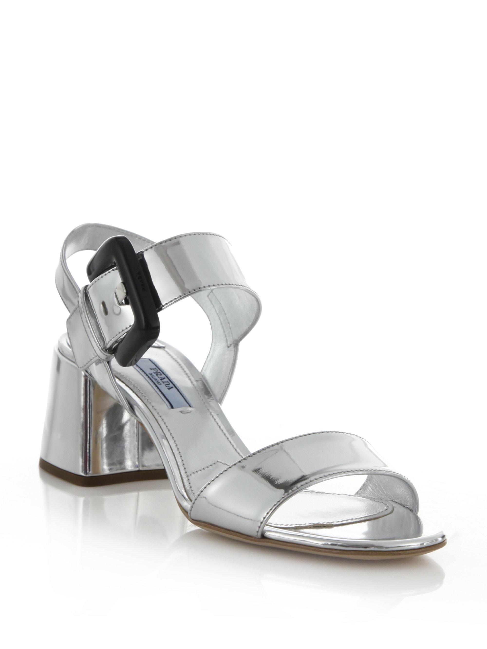 Prada Metallic Patent Leather Sandals outlet wholesale price HoA7b5wFUJ