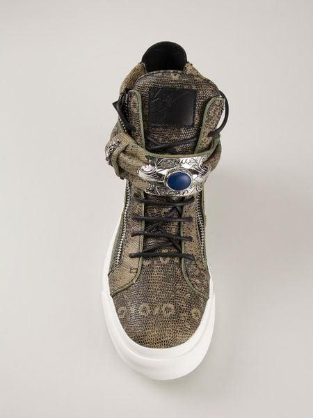 Giuseppe Zanotti Snake Skin Effect Hitop Sneakers In Green