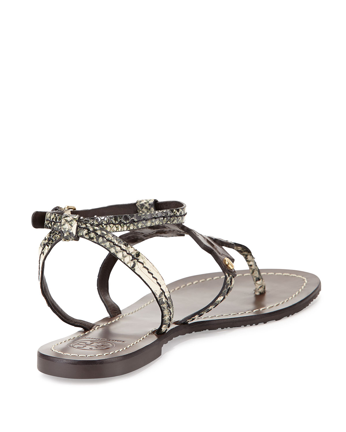 0bf874d91 Lyst - Tory Burch Phoebe Snake-embossed Flat Sandal in Brown