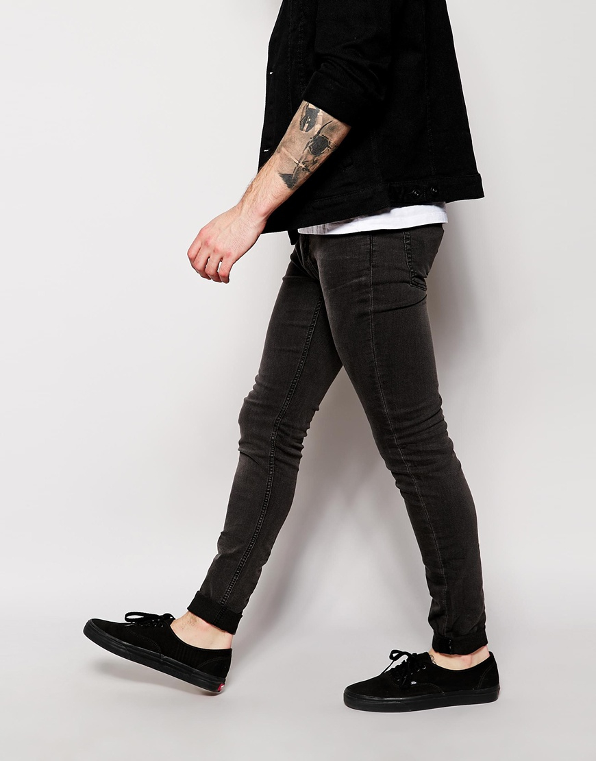 Cheap monday Jeans Him Spray Super Skinny Fit Great Black in Black ...
