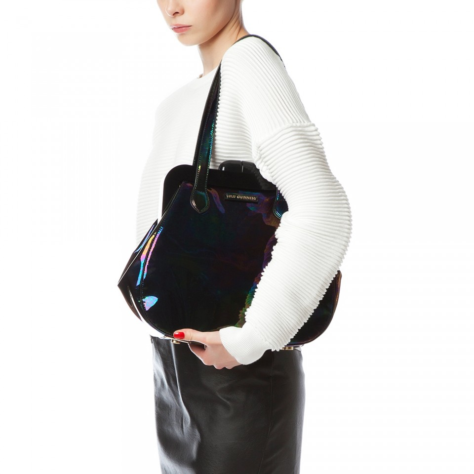 Lulu Guinness Oil Slick Patent Leather Mid Pollyanna in Black - Lyst d120255c6e842