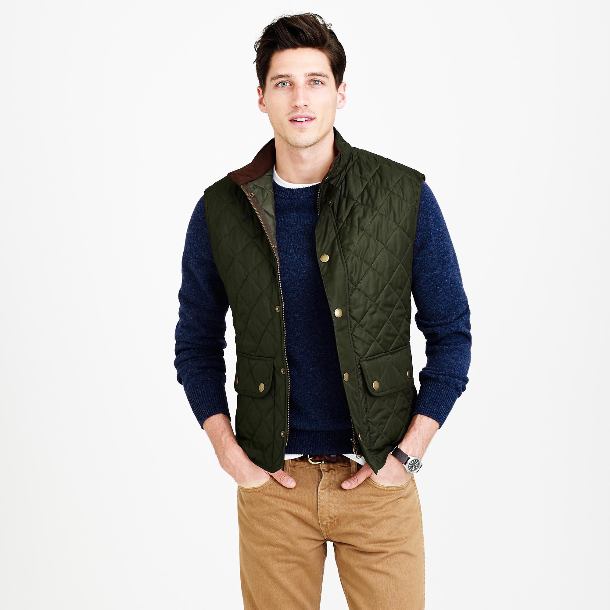 Barbour quilted vest mens fair isle cascade cardigan vest