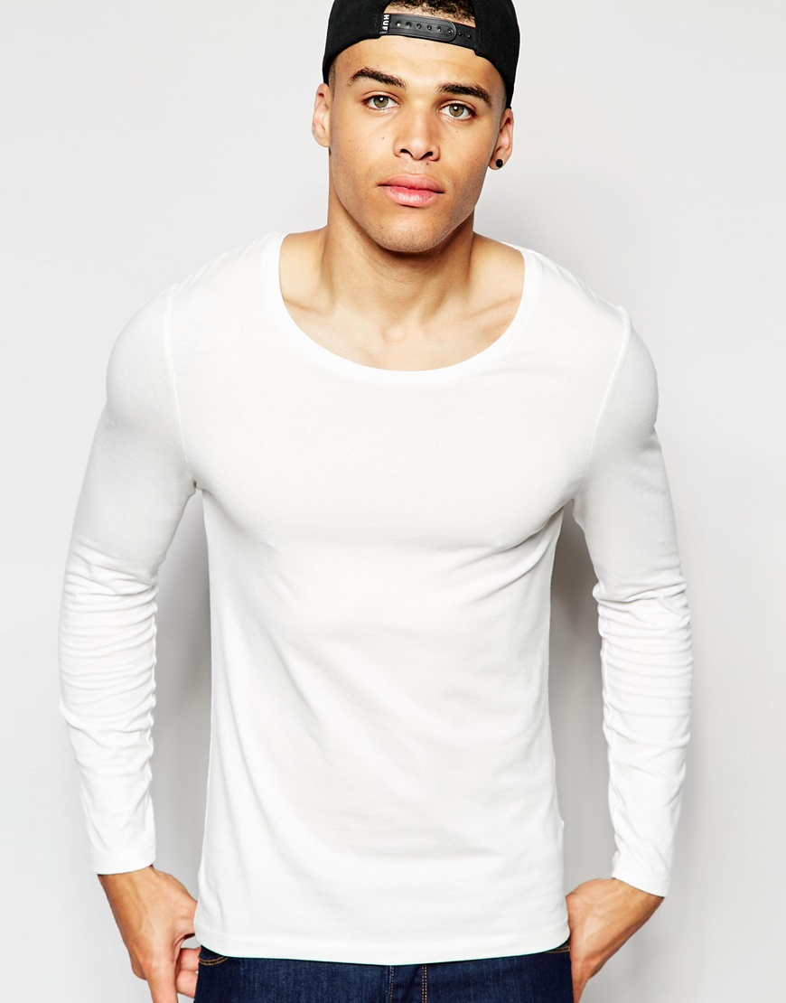 asos muscle long sleeve t shirt with scoop neck in off