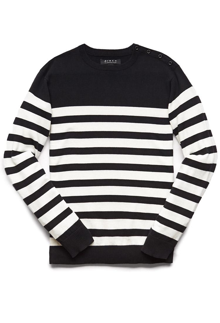 Lyst Forever 21 Buttoned Striped Sweater Youve Been Added To The