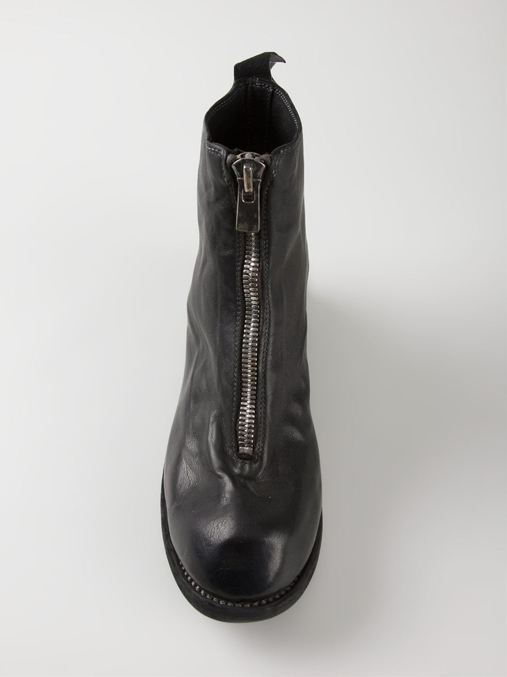 front zip ankle boots - Black Guidi YyGDJ7P1