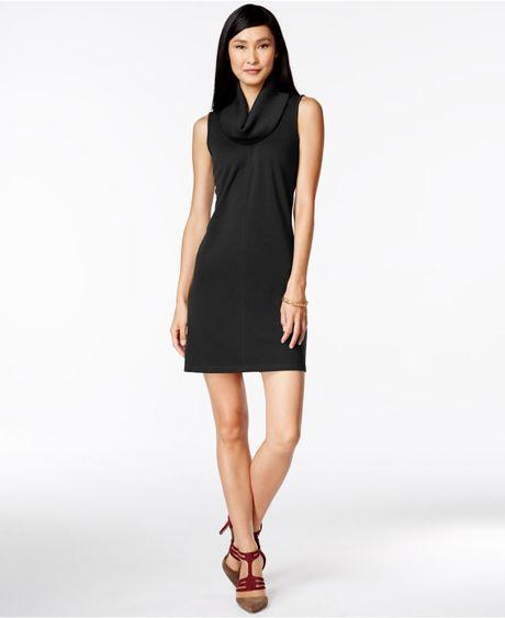 Cowl Neck Sheath Dresses: Black Petite Sleeveless Cowl-neck Sheath Dress