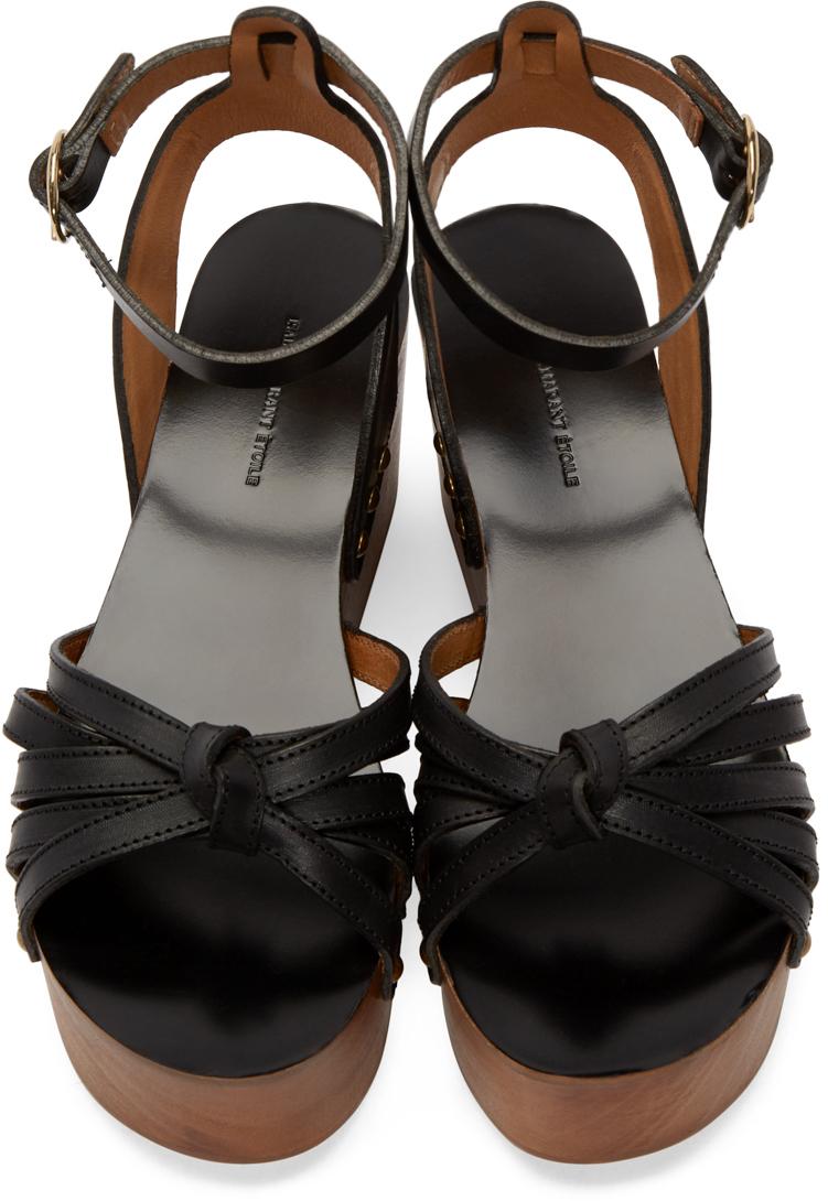 c7354ba042f Lyst - Isabel Marant Black Leather Zia Wedge Sandals in Black