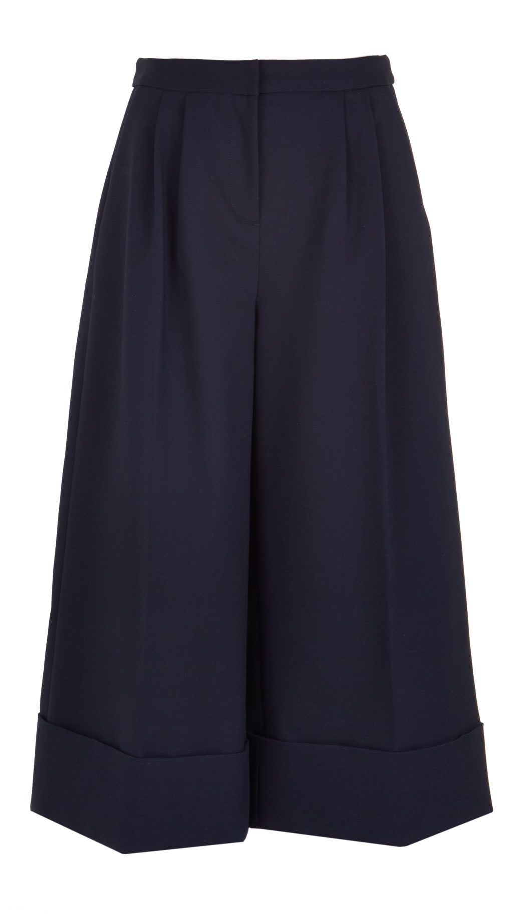Tibi High-rise Pleated Cotton Culottes in Blue