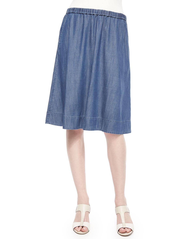 eileen fisher gathered denim skirt in blue lyst