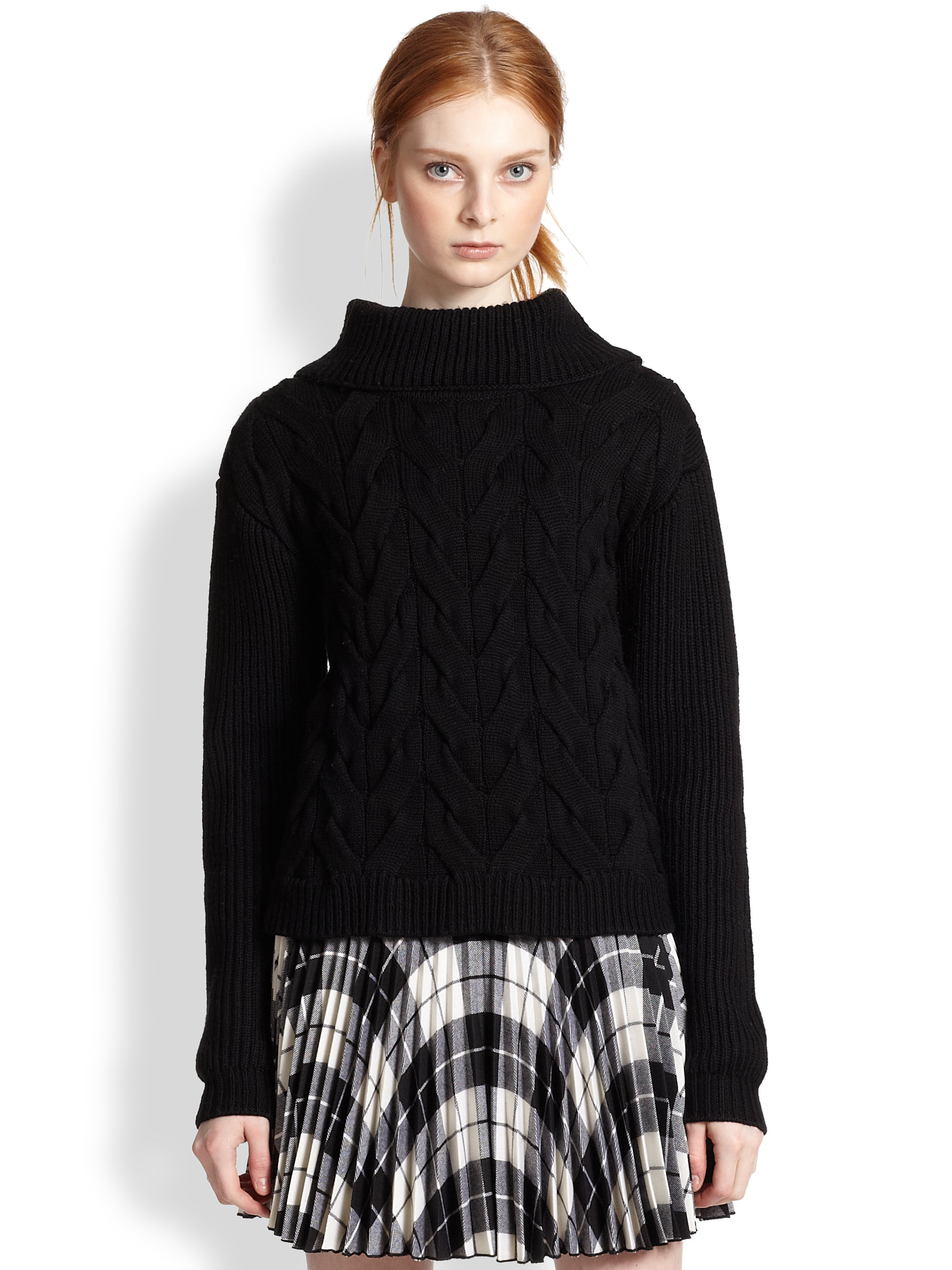 Milly Wool Cable-Knit Turtleneck Sweater in Black | Lyst