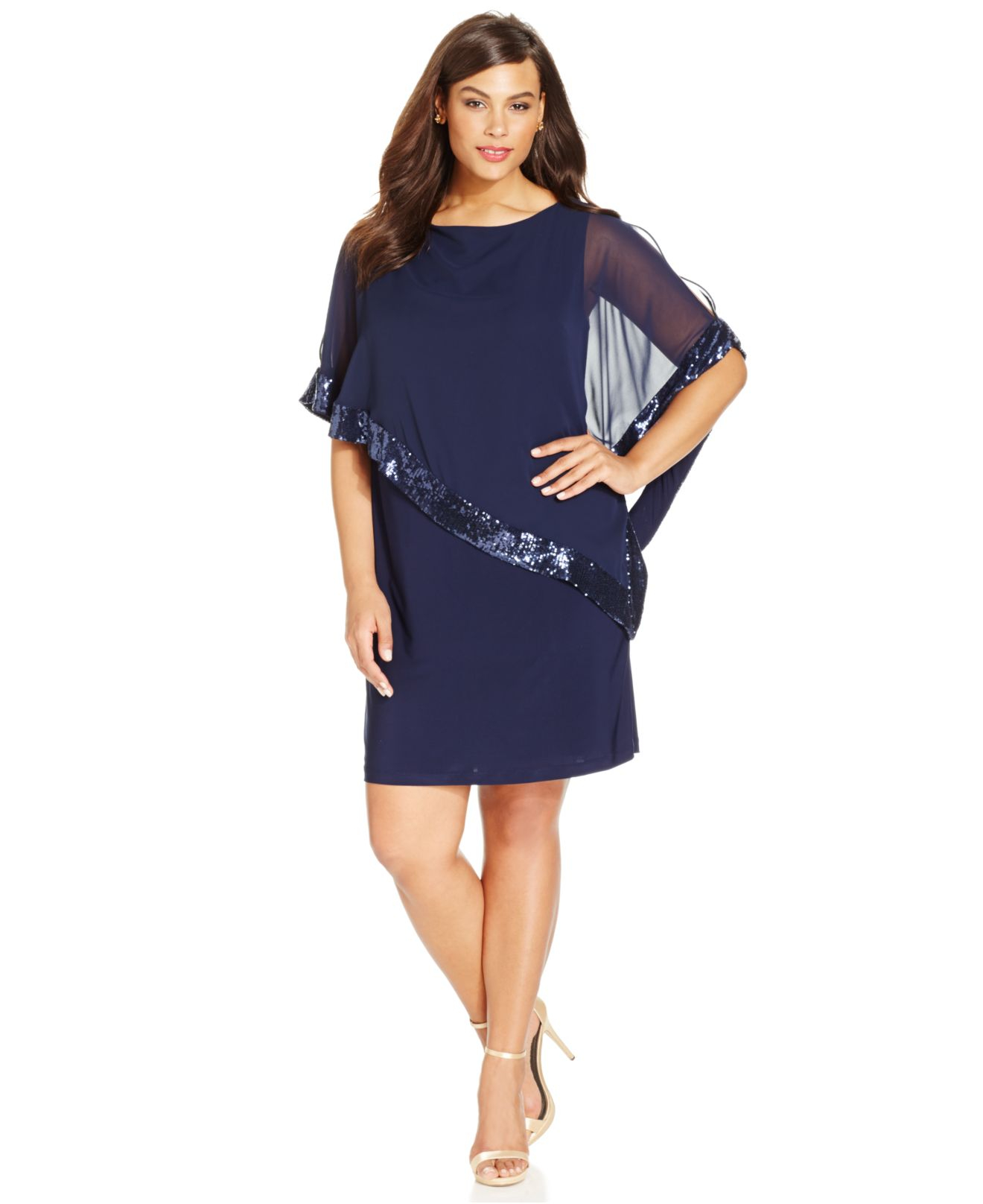 Plus Size Sequin-trim Capelet Dress