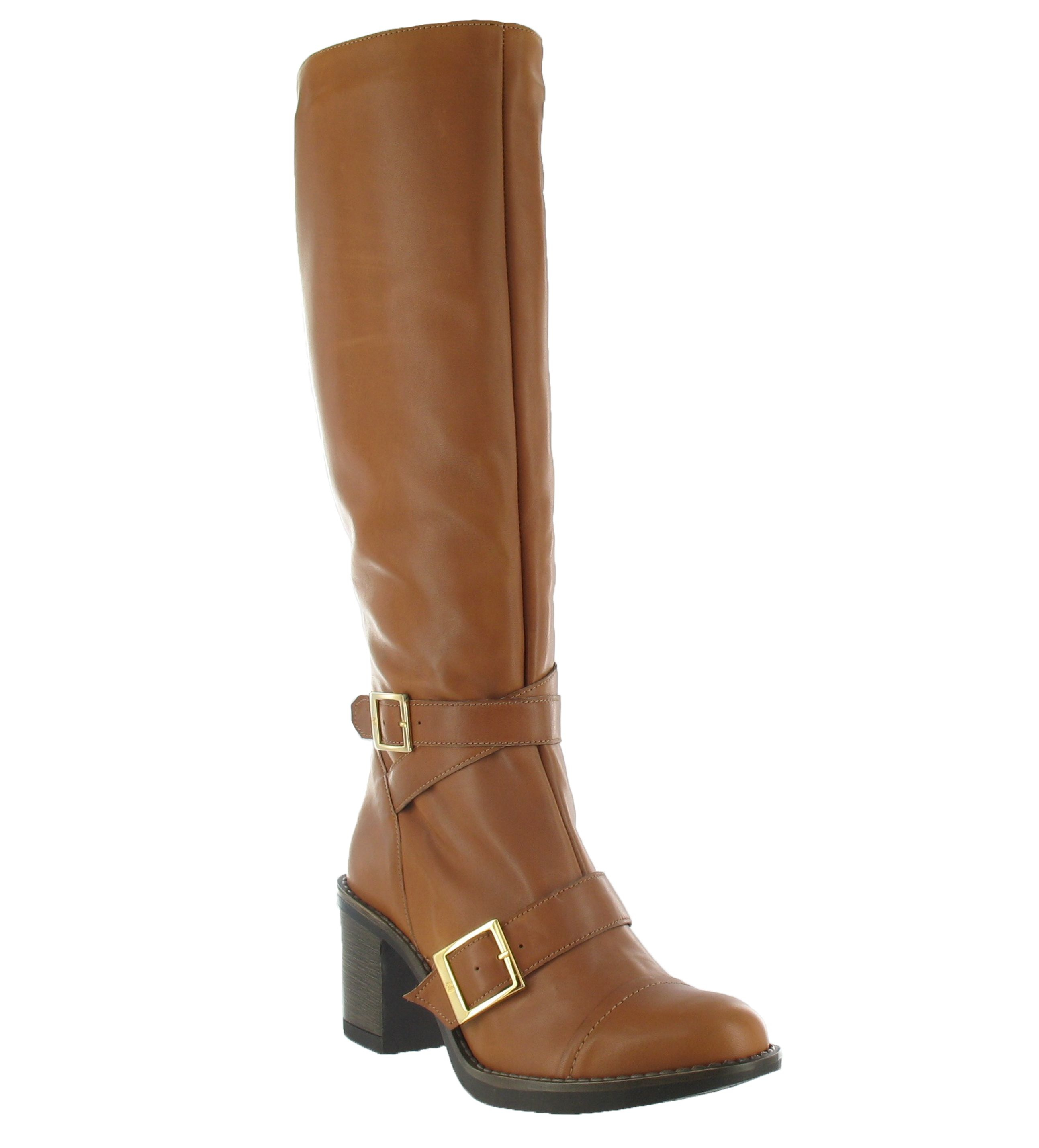 marta jonsson knee high boot with a mid heel in brown lyst
