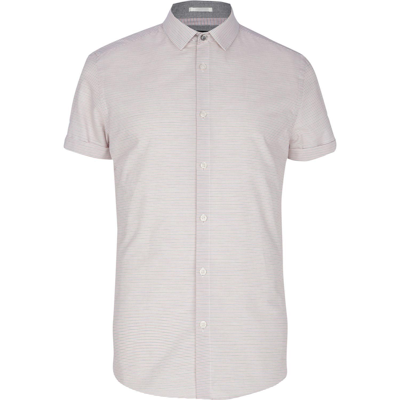 Lyst river island light red horizontal stripe shirt in for Horizontal striped dress shirts men