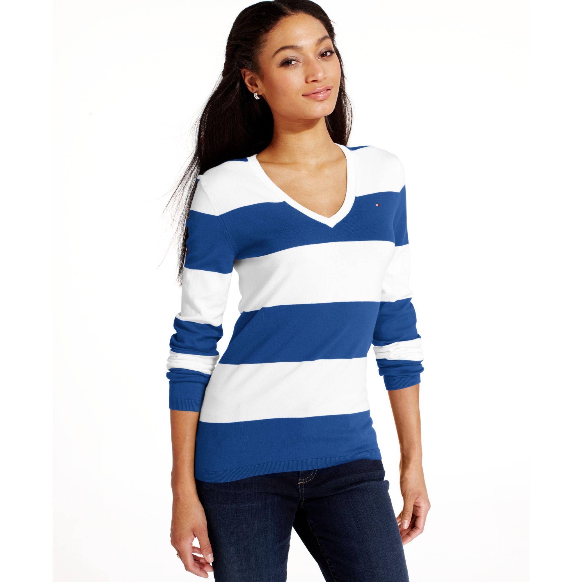 250cd51d7b Lyst - Tommy Hilfiger Longsleeve Striped Vneck Sweater in Blue