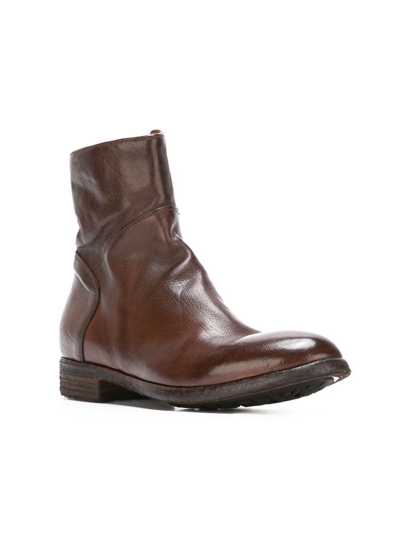 Lyst Officine Creative Zip Ankle Boots In Brown