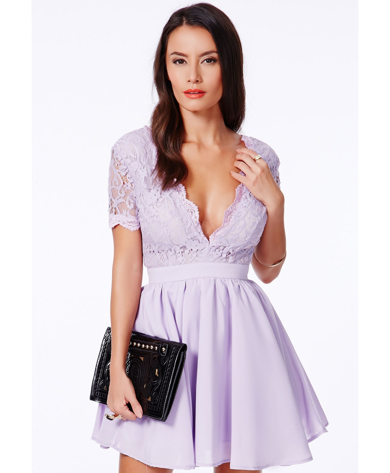 afd078c0409 Missguided Aleena Eyelash Lace Plunge Neck Puffball Mini Dress In Lilac in  Purple - Lyst