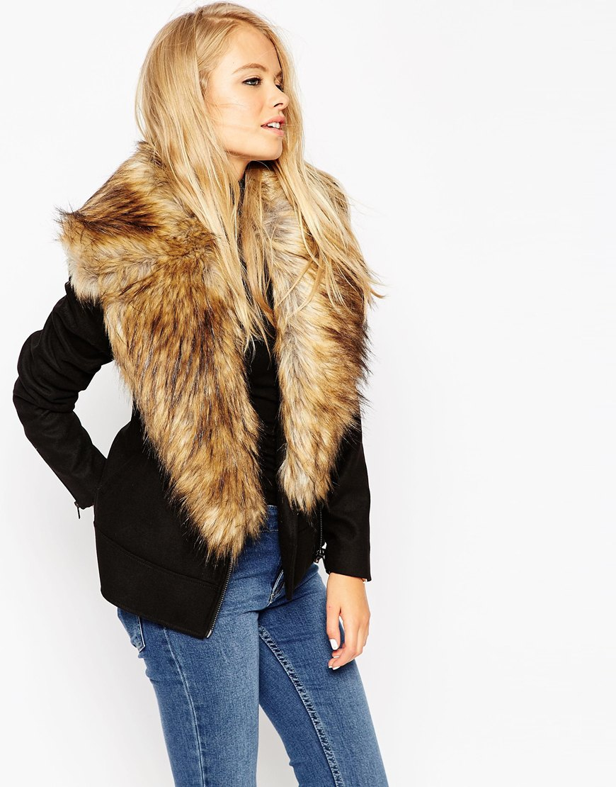 80e68174a1451 Lyst - ASOS Biker Jacket With Oversized Faux Fur Collar in Black