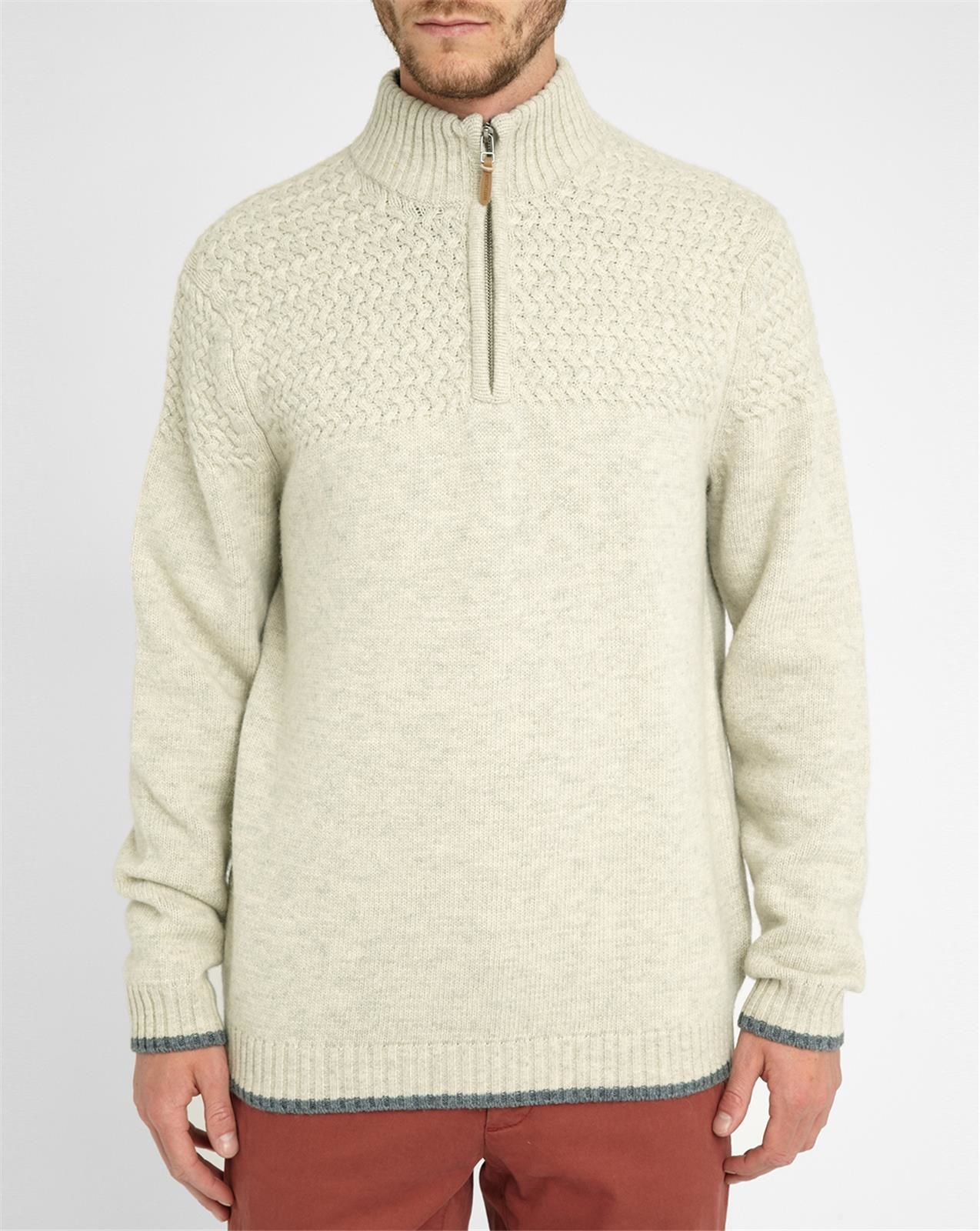 Harris wilson Beige Lambswool Knitted Details Zip-neck Sweater in Natural for...