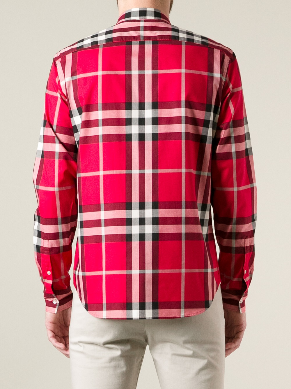 Burberry brit check buttondown shirt in red for men lyst for Burberry brit checked shirt