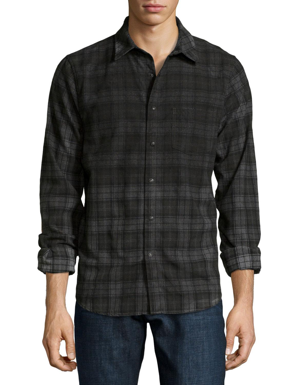 Joe 39 s jeans plaid flannel sport shirt in black for men for Black watch plaid flannel shirt