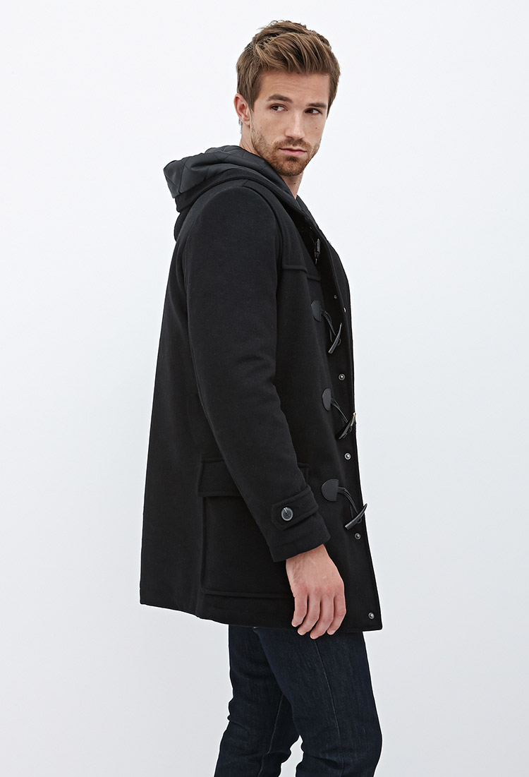 Forever 21 Hooded Wool-blend Duffel Coat in Black for Men | Lyst