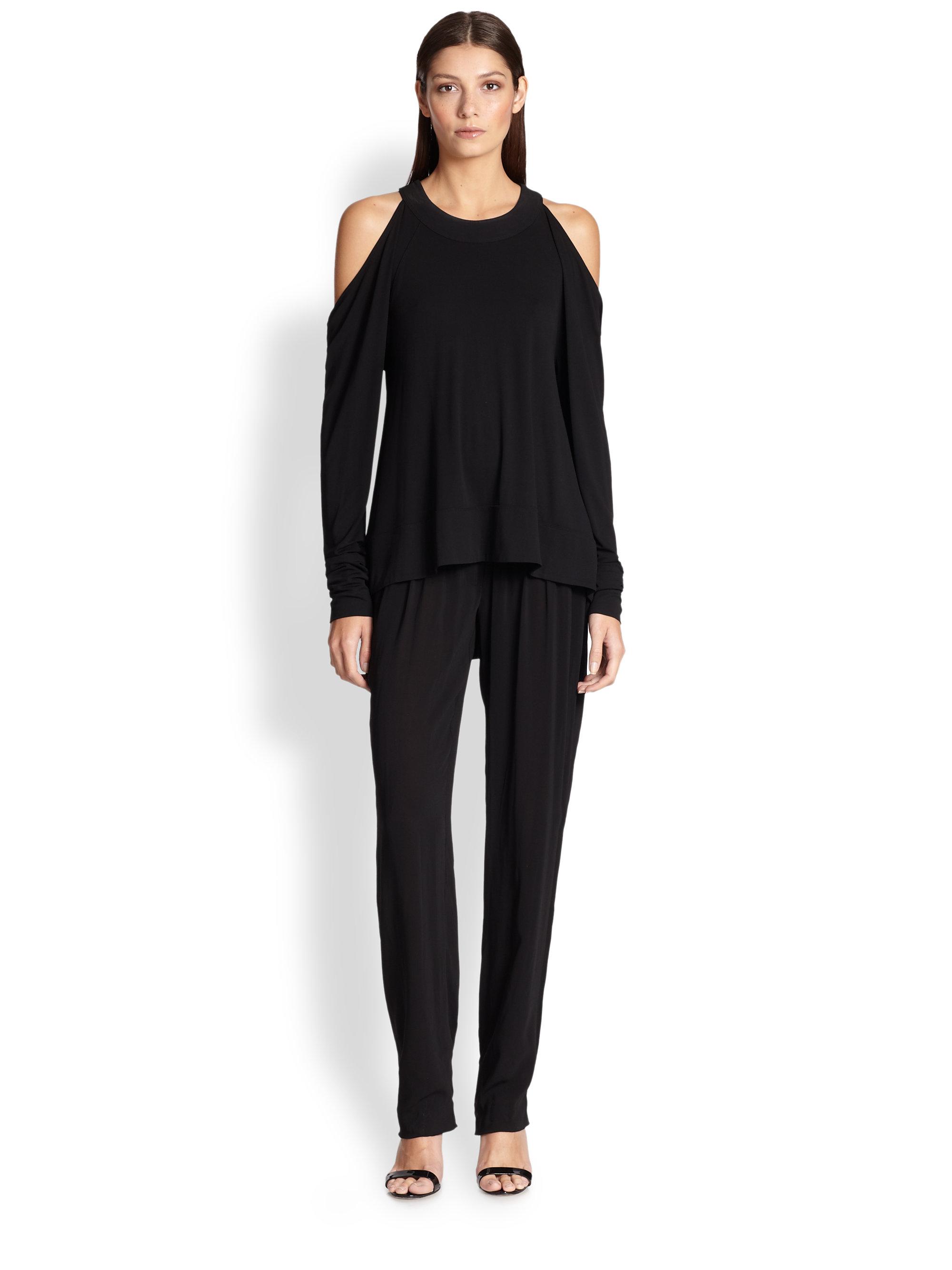 759bffa212eed Lyst - Donna Karan Cold-Shoulder Jersey Top in Black