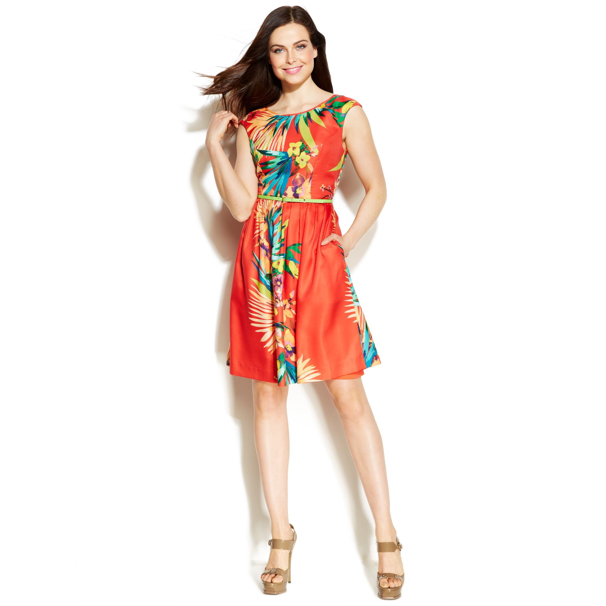 Ellen Tracy Tropical Print Pleated Dress Lyst