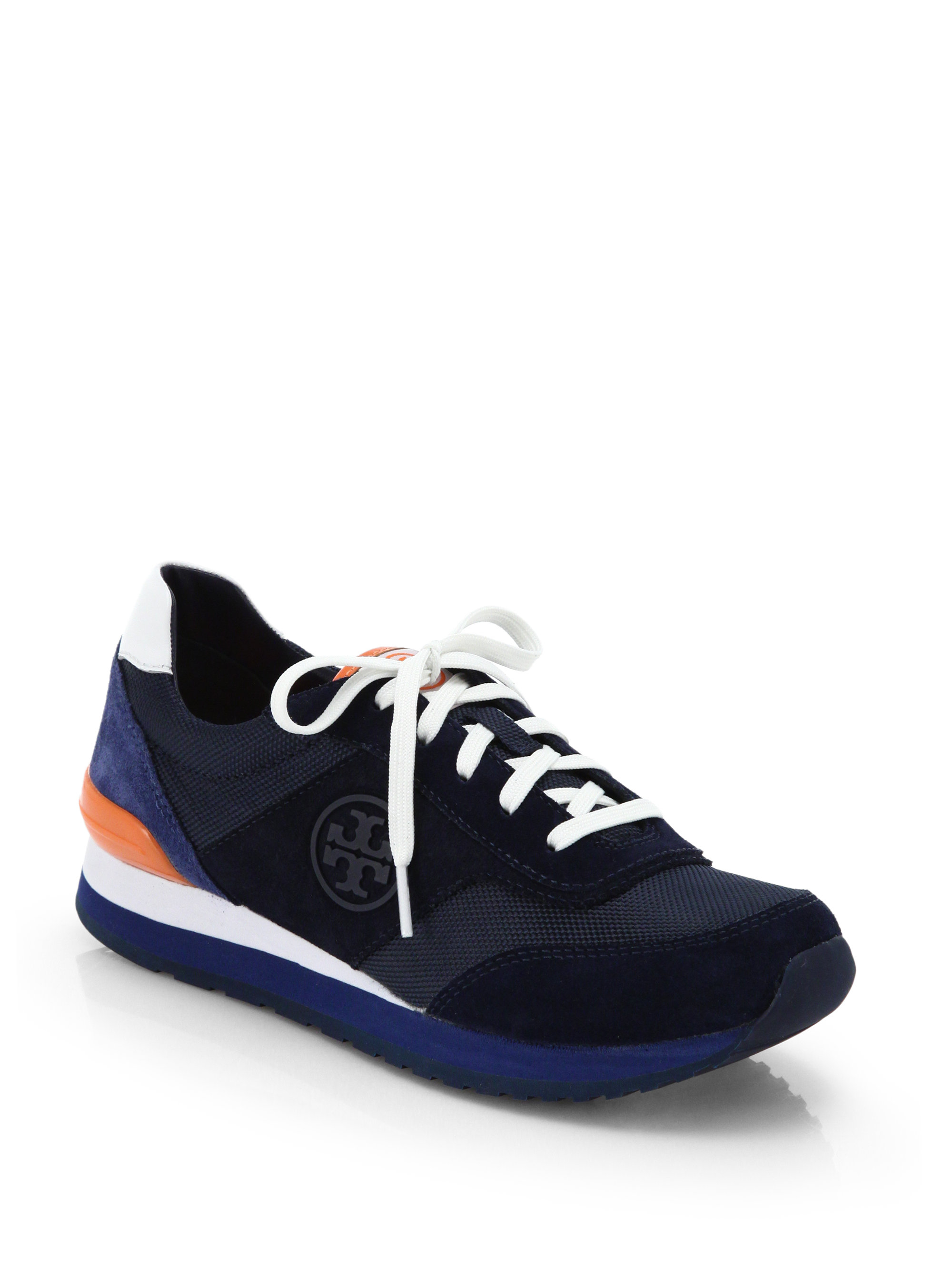 cda973f1e319 Lyst - Tory Burch Colorblock Suede   Fabric Sneakers in Blue