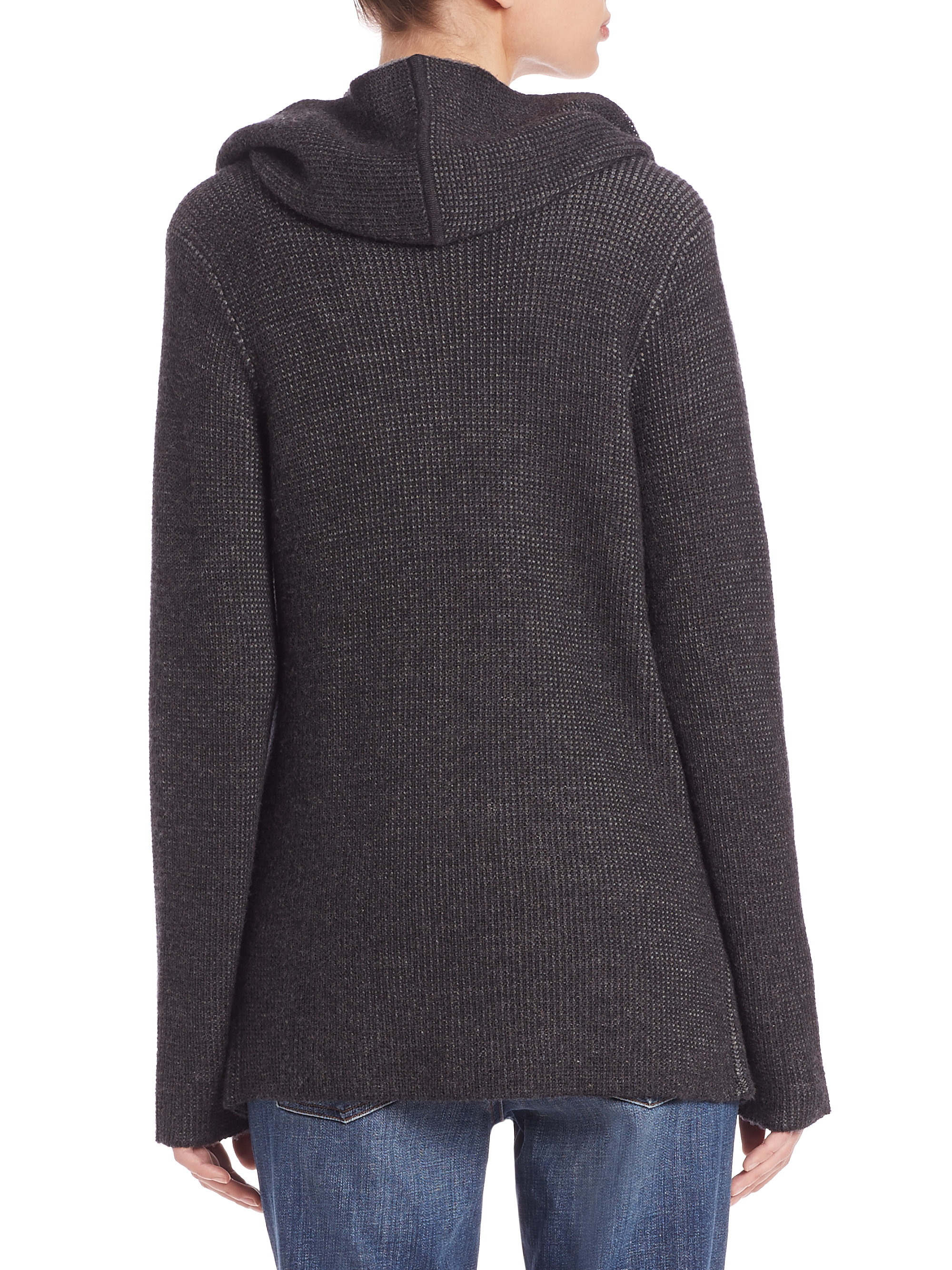 Eileen fisher Wool Hooded Cardigan in Gray | Lyst