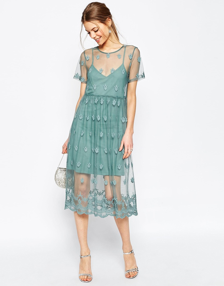 Asos Pretty Embroidered Mesh Midi Dress in Blue (Green) | Lyst