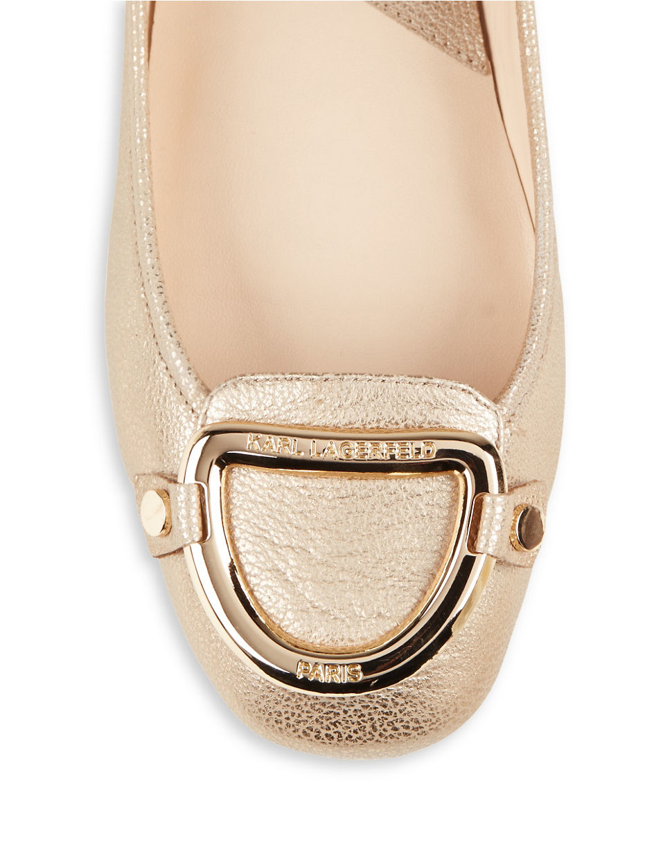 fb56a8ac86fedb Karl lagerfeld Vavin Leather Buckle Flats in Natural