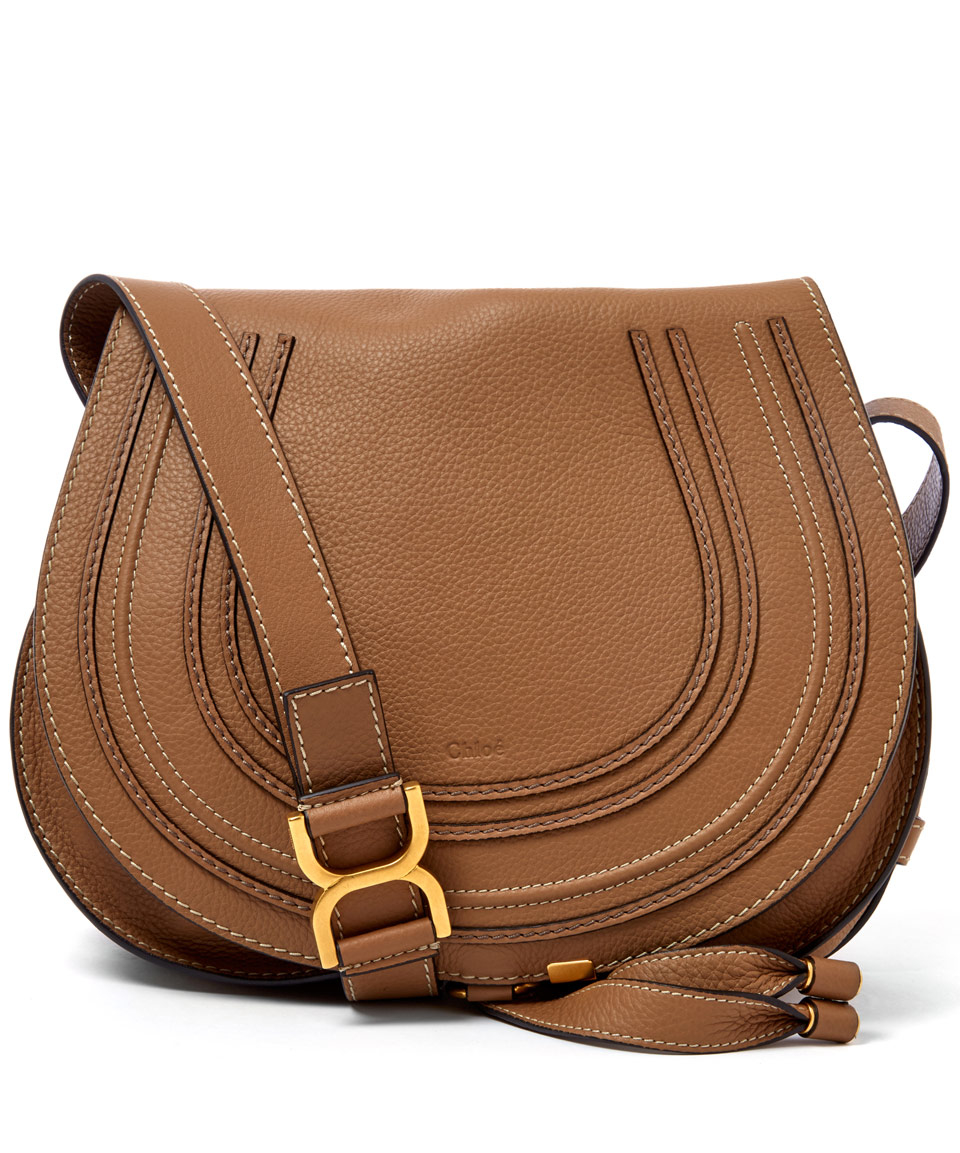 Chlo 233 Medium Light Brown Marcie Leather Saddle Bag In