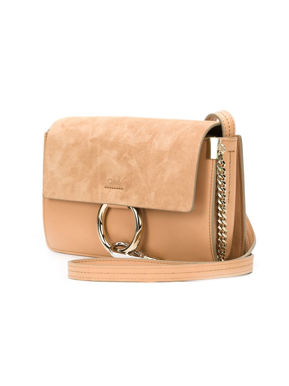 Chlo¨¦ Faye Suede Shoulder Bag in Beige (NUDE \u0026amp; NEUTRALS) | Lyst